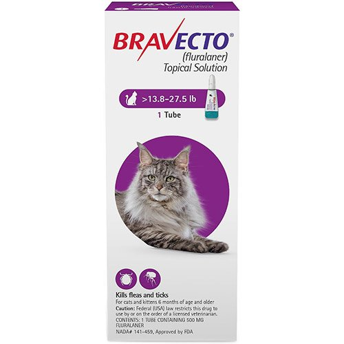 Bravecto Spot-On for Large Cats 13.8 lbs - 27.5 lbs (Purple) 500 mg