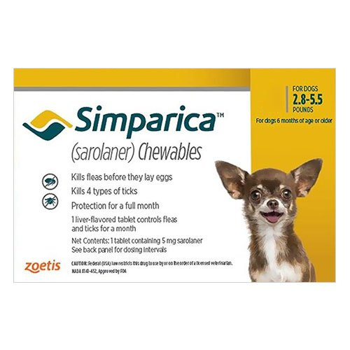 Simparica Chewables for Puppies 1.3-2.5KG (YELLOW)