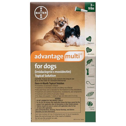 Advantage Multi (Advocate) For Small Dogs/Pups up to 4 kg (Green)