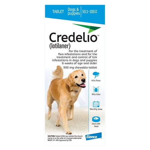 Credelio for Dogs 50 to 100 lbs (900mg) Blue