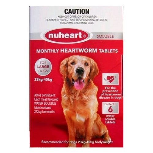 Nuheart Generic Heartgard Tabs For Large Dogs - Nuheart 23 To 45Kg (Red)