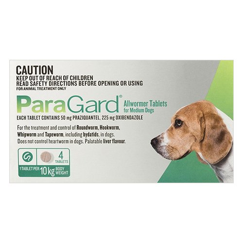 Paragard Broad Spectrum Wormer For Medium Dogs 22 lbs (10Kg) Green